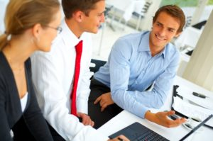 closeup on a businessman working together with his team.